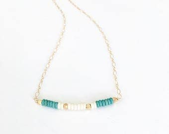 The Southwest Bar - minimalist gold and turquoise bar necklace.