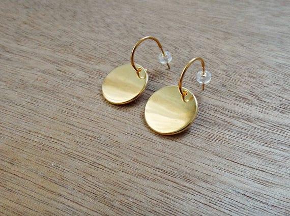 Round Gold Boho Hoop Earrings • Gold plated brass • Gold Hoop Handmade Earrings