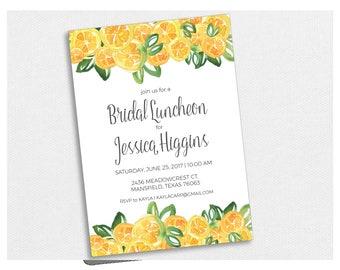 Citrus Lemon Shower Invite - PDF Printable