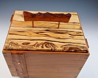 Decorative stash box, cherrywood container with pecan lid, cremation urn, stylish storage, hide clutter,  5th anniversary gift