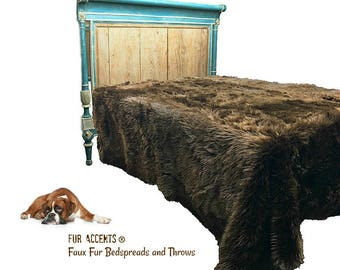 Plush Faux Fur Bedspread - Comforter - Throw Blanket - Brown Shag - Soft Minky Cuddle Fur Lining - Fur Accents Original Designs USA
