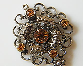 For creation, silver and Crystal pendant charm, orange