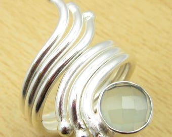 Ring Silver 925 and chalcedony - 53 1/2, 17 mm size.