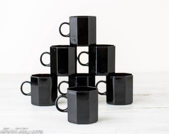 7 Vintage Coffee Cups - Small Black Mugs - Black Glass Cups - Small Octagon Coffee Mug Set - Octime Arcoroc France