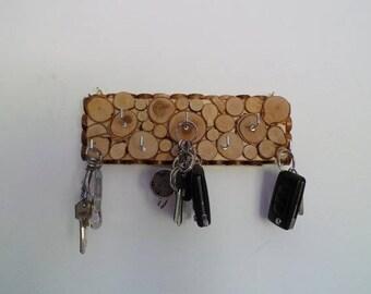 Porte clé mural en bois avec 7 crochets