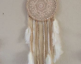 DreamCatcher of pearls, satin, cotton ribbons, lace and feathers