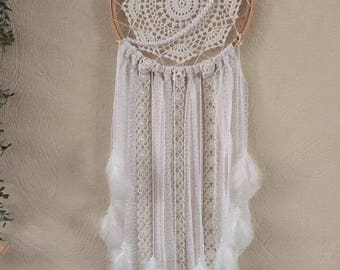 Crochet lace dream catcher white feathers
