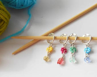 Colourful Stitch Counters, Set of 4 Stitch Markers, Knitter Present, Grandmother Buttons, Crafty Mother Gift, Knitting Accessories, Creative