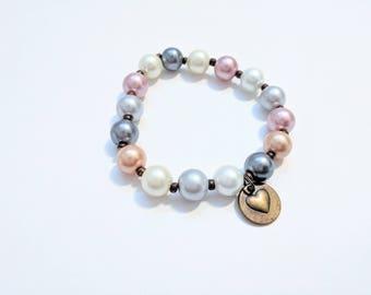 Multi-color 10mm Glass Pearl Stretch Bracelet