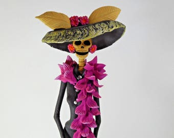 """FANCY CATRINA with shawl stole hand made mexican folk art day of the dead 15"""""""
