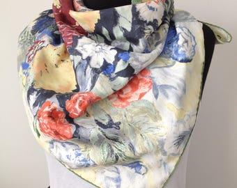 Scarf, large, floral, Vintage, silk