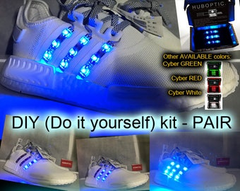 Dance SHOES Lights - Custom LED Kicks - DIY Light Up Sneakers Sound Reactive Shoes for Dj Gogo Ninja Cosplay Onesie Party Wardrobe Costume