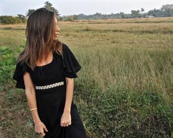 Black maxi dress - boho - full length dress - cotton dress - gypsy - embroidered dress - long dress
