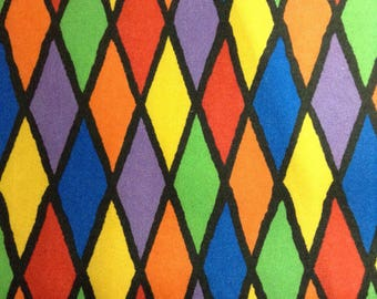 One Yard of Fabric Material - Rainbow Harlequin Diamonds