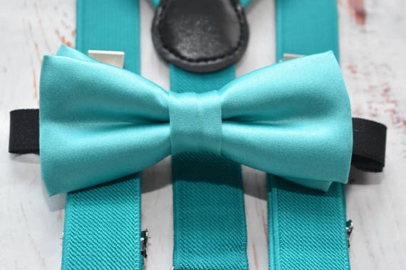 Kids Aqua Green Bow Tie  for Baby, Toddlers and Boys (Kids Bow Ties) with Braces / Suspenders