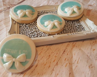 "Tiffany Sugar Cookie 3""- 12 Sugar Cookies Decorated With Marshmallow Fondant - Favors- Candy Buffet- Sweet Table."