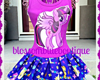 girls MLP Twilight sparkle My Little pony dress 4/5 6/6X 7/8 10/12 and 14/16 ready to ship
