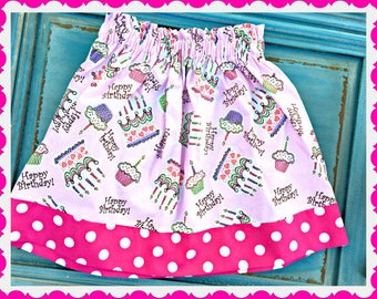 girls Happy BIRTHDAY party skirt 2T 3T 4T 4/5 6/6X 7/8 10/12 14/16 ready to ship