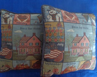 Vintage Bless Our Home Pillows,Blue Decorator Pillows,Holiday Pillows,Blue Throw Pillows,Two Matching Pillows,80's Pillows,Toss Pillows