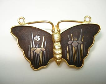 Butterfly Damascene Pin Brooch by Amita Made in Japan 1950's