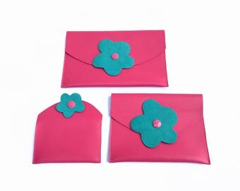 Pink leather pouches for organize your bag Carryall, passport holder, cards holder in pink leather with turquoise flower Gift for her