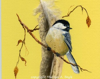 HAND PAINTED FEATHER; chickadee, wall art, 5 x 7 inches, wood frame, one of a kind,