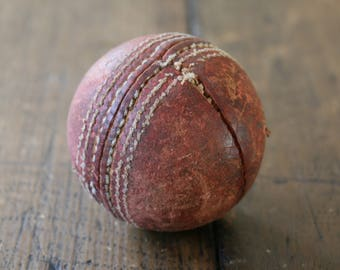 Old Cricket Ball Sport Sports Lawn Game Rustic Industrial Primitive Boy Gift Room Decor Fathers Day Mancave Outdoor Game Backyard Match