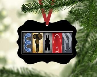Wrestling Name Ornament, Wrestling Christmas Ornaments, Personalized, Wrestler Gift, WrestlingTeam Gift, Ornament, gift under ten,Coach Gift