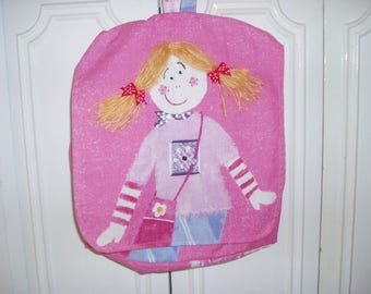 girl in pink printed fabric, blonde girl backpack