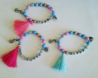 Girls mermaid name bracelet, girls seashell bracelet, girls name rainbow bracelet, girl name tassel bracelet, rainbow beaded bracelet