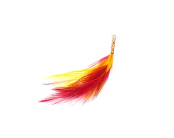 Ruby and yellow dyed rooster: filigree tube pendant gold plated 7.5 mm in height approximately