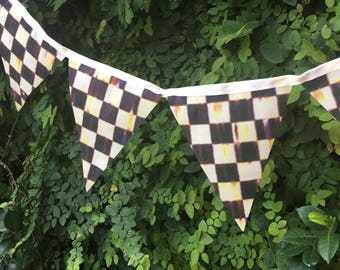 Mackenzie-Childs Inspired Fabric Banner - Courtly Check - Checkered Bunting - Black and White