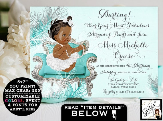 FIRST BIRTHDAY Invitation, African American girl, turquoise silver princess 1st baby girl ethnic invitation, diamonds and pearls.