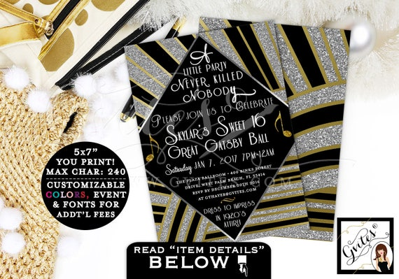 Great Gatsby invitation, sweet 16 printable, the great gatsby birthday invitations, gold and black party, PRINTABLE Double Sided 5x7 teen.