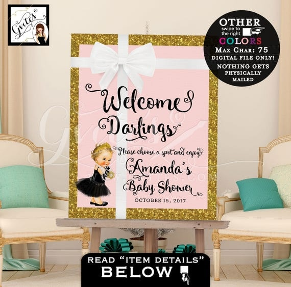 Welcome Darlings poster sign, blush pink and gold baby shower decoration princess tiara, gold and pink, breakfast at themed, Audrey Hepburn.