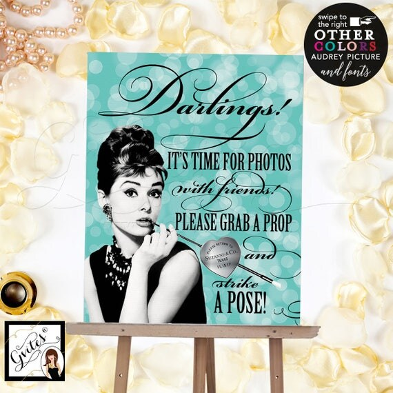 Breakfast at Tiffany's photo booth sign, Audrey Hepburn party supplies, poster, wall art, CUSTOMIZABLE Audrey Picture, Colors & fonts 8x10""