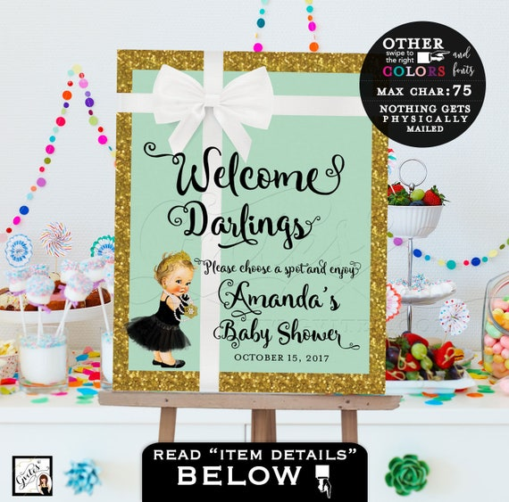 Welcome Baby shower signs, poster, mint green and gold, pink and gold, breakfast at co baby and co princess theme, PERSONALIZED digital file