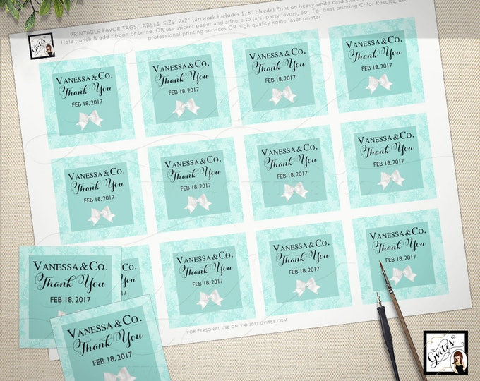 "Breakfast at Tiffany's tags labels decorations, couture blue theme party, bridal shower, baby shower, decor, cupcake toppers  2x2"" PRINTABLE"