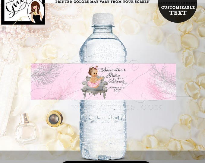 Pink & Silver Water Labels, Baby shower, RIBBONS BOWS diamonds pearls, favor gifts, decorations, vintage baby girl party stickers 8x2.