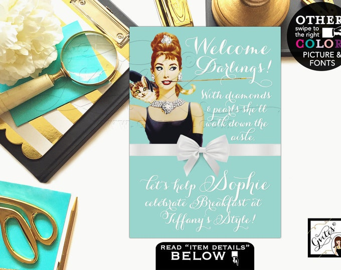 "Bridal shower welcome signs, Audrey Hepburn printable party decor, personalized breakfast at co bridal shower. CUSTOMIZABLE {4x6"" or 5x7""}"