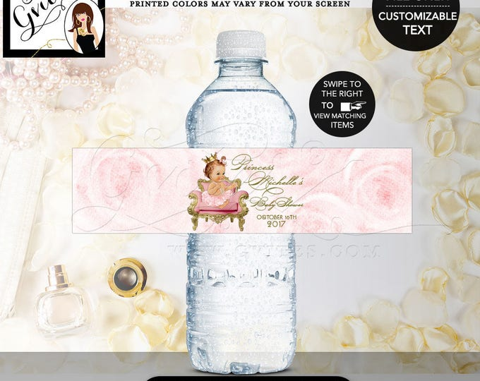 "Princess water bottle labels baby shower, pink and gold water label, vintage baby shower favors, gifts, DIGITAL ONLY! 8x2"" 5 Per/Sheet"