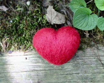 Needle Felted Heart, Wool Hearts, Heart Decor, Valentine Hearts, Handmade Hearts, Heart Decoration, Red Felt Hearts