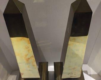 "Vintage Pair 23"" Tall Neoclassical Brass Obelisks Mid Century Modern Hollywood Regency"