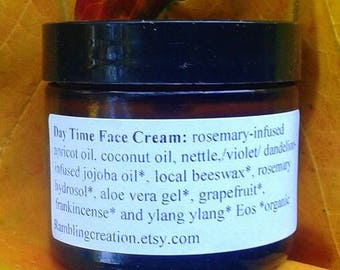 """Day Face Cream with Jojoba and Home Distillied """"Spring Tonic"""" Hydrosol Scented with Frankincense, Ylang Yland and Grapefruit Essential Oils"""