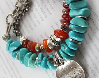 carnelian bracelet, turquoise bracelet, artisan bracelet, boho chic bracelet, bohemian bracelet, southwestern bracelet, for her
