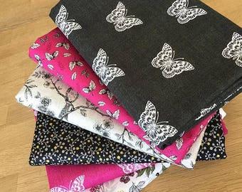 BOTANICA Fat Quarter Bundle I Makower Floral Fabric Vintage Black Pink Berries Butterfly