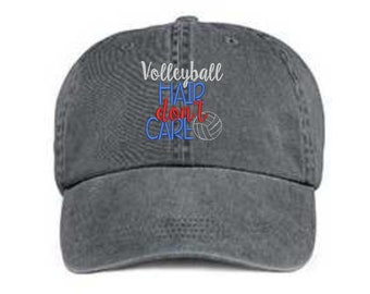 Embroidered Volleyball Hat/ Volleyball Hair Don't Care Hat/ Messy Hair Hat/Volleyball Hat/Pigment Dyed Volleyball Hat/ Distressed Volleyball