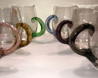Vintage Glass Mugs with Multi Colored Handles - Set of 6