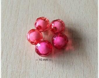 Bag of raspberry tasca faceted beads