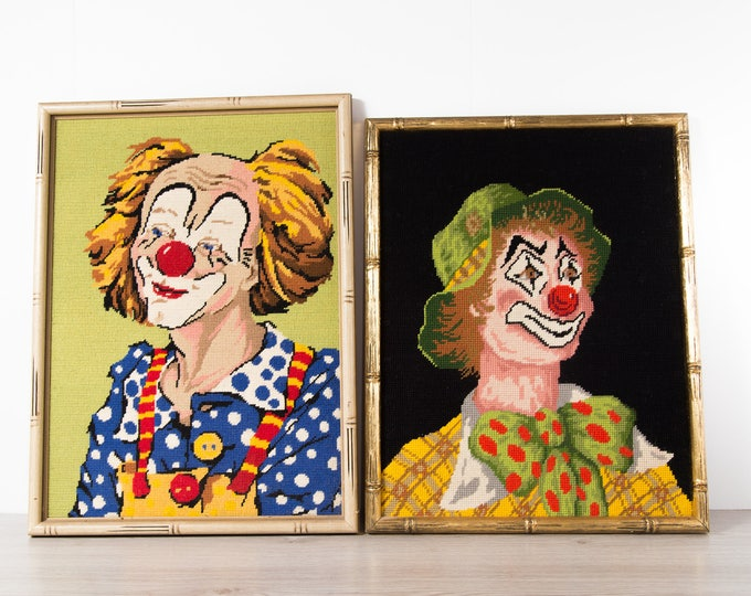 Vintage Clown Cross Stitch Artwork / Framed Embroidered Circus Clown Fabric Art Tapestry / Painted Face Redhead Ginger Polka Art Halloween